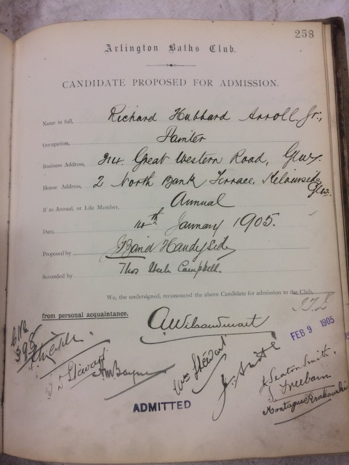 Proposal form filled in with handwritten details of Richard Hubbard Arroll's application to join the Arlington Baths